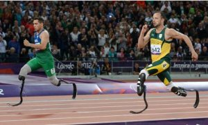 Alan Oliveira defeats OScar Pistorius in the 2012 T43/44 Paralympic 200m final